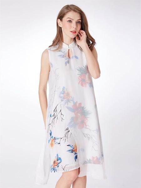 High Neck Keyhole Sleeveless Chiffon Print Short Dress With Split