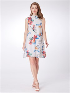 A Line White High Neck Sleeveless Floral Print Dress With Buttons