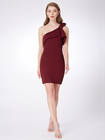 Burgundy One Shoulder Sleeveless Sheath Chiffon Dress With Ruffles
