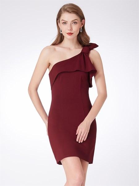 Burgundy One Shoulder Sleeveless Sheath Chiffon Dress With Ruffles