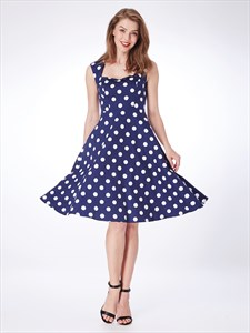Navy Blue A Line Square Neck Sleeveless Polka Dot Short Dress