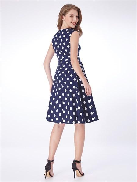 Navy Blue A Line Square Neck Sleeveless Polka Dot Short Dress