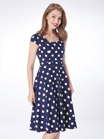 Navy Blue Square Neck Cap Sleeve Knee Length Polka Dot Short Dress