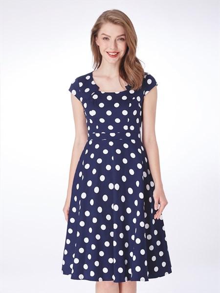 Navy Blue Square Neck Cap Sleeve Knee Length Polka Dot Short Dress