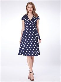 A Line Navy Blue V Neck Short Sleeve Polka Dot Dress With Belt