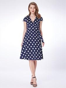 A Line Navy Blue V Neck Short Sleeve Polka Dot Dress With Belt