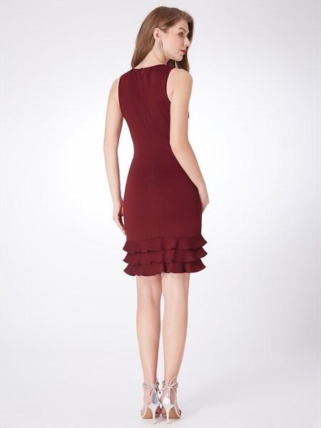Simple Burgundy Jewel Neck Sleeveless Sheath Short Dress With Ruffle