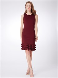 Simple Burgundy Jewel Neck Sleeveless Sheath Short Dress With Ruffle