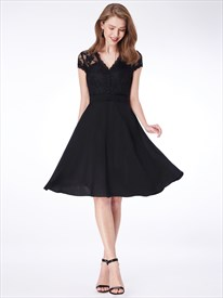 Simple A Line Black V Neck Short Sleeve Short Dress With Appliques