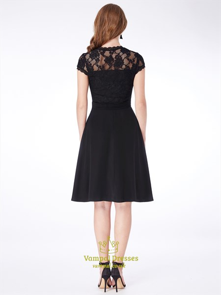 Simple A Line Black V Neck Short Sleeve Short Dress With Appliques