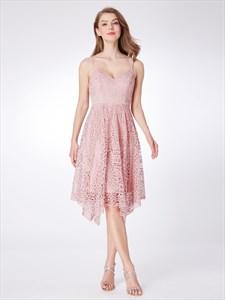 Elegant Pink Spaghetti Strap V Neck Sleeveless Lace Short Dresses