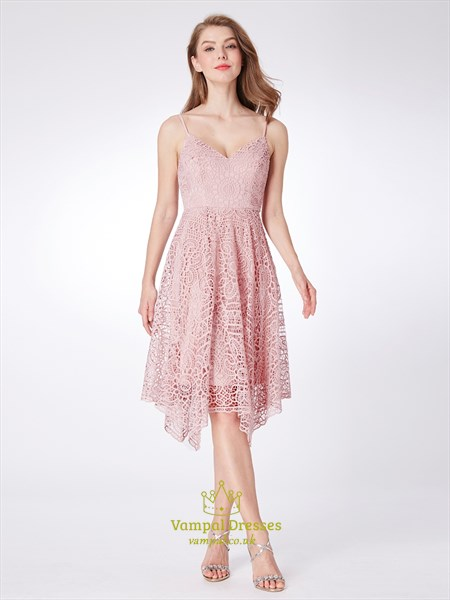 Elegant Pink Spaghetti Strap V Neck Sleeveless Lace Short Dresses