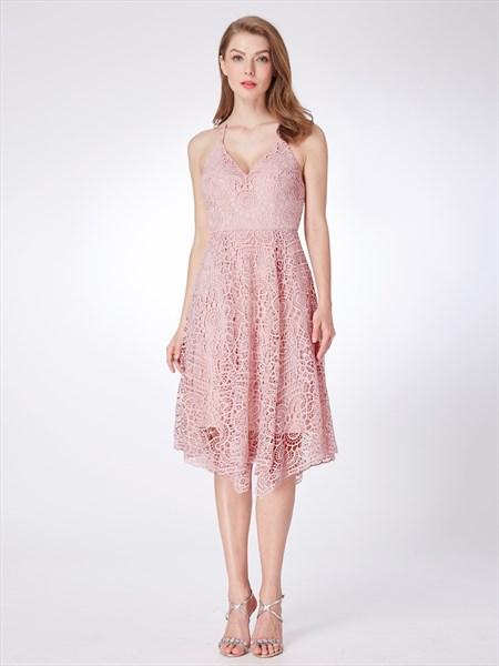 A Line Pink Halter Neck Sleeveless Lace Short Prom Dress