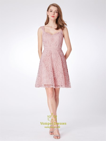 Pink A Line Square Neck Sleeveless Knee Length Lace Short Prom Dress