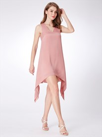 Simple Light Pink V Neck Sleeveless Asymmetrical Hem Chiffon Dress