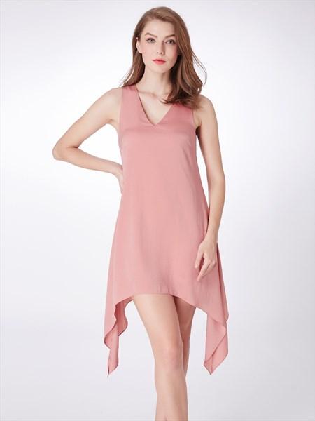 Simple Light Pink V Neck Sleeveless Asymmetrical Hem Chiffon Dress