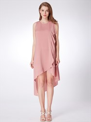 A Line Jewel Neck Sleeveless High Low Short Dress With Ruffles