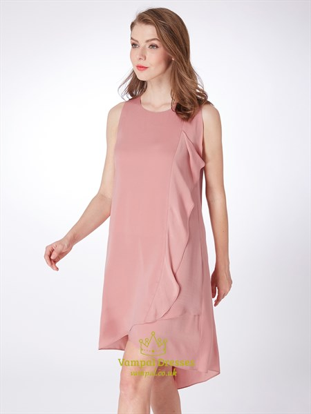 A Line Jewel Neck Sleeveless High Low Short Dress With Ruffles