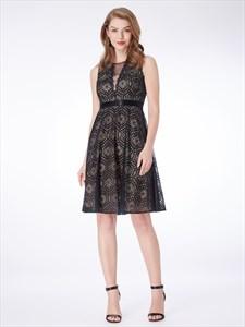 Black A Line High Neck Sleeveless Knee Length Lace Short Prom Dresses