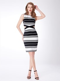 Black And White High Neck Side Cut Out Sheath Striped Casual Dresses