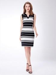 Black And White V Neck Sleeveless Sheath Knee Length Striped Dress