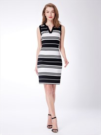 Black And White V Neck Sleeveless Sheath Knee Length Striped Dress