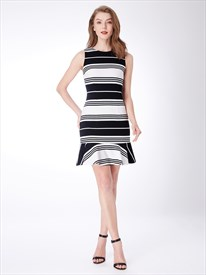 High Neck Sleeveless Sheath Black And White Knee Length Striped Dress
