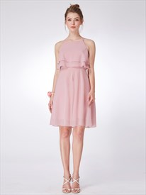 A Line Light Pink Scoop Neck Chiffon Short Dress With Ruffles