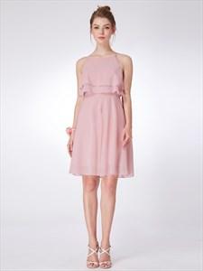 A Line Light Pink Scoop Neck Chiffon Short Dress With Ruffles
