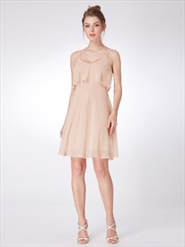 Blush Pink Spaghetti Strap Sleeveless Knee Length Chiffon Dress