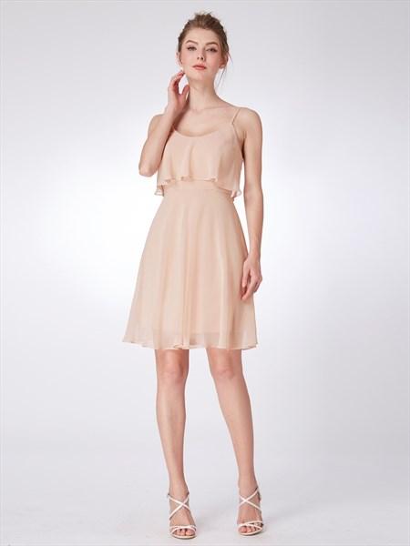 Blush Pink Spaghetti Strap Sleeveless Knee Length Chiffon Dress