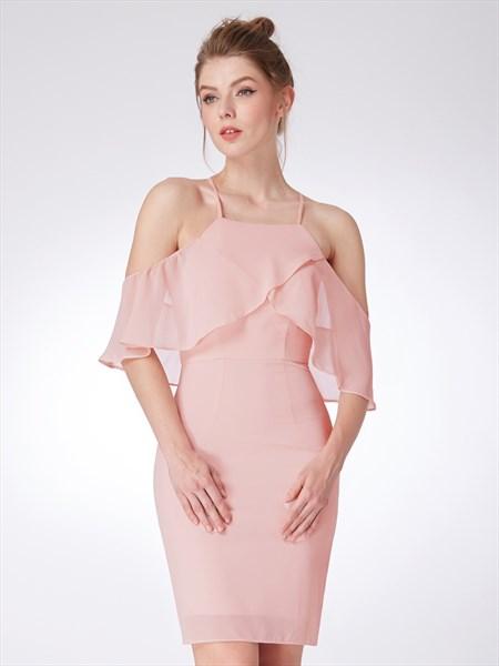 Light Pink Halter Neck Cap Sleeve Cross Back Sheath Short Prom Dress