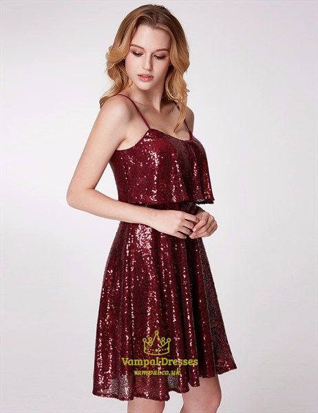 A Line Burgundy Spaghetti Strap Sequin Short Prom Dress With Ruffle