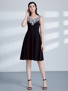 Black A Line Square Neck Sleeveless Applique Knee Length Prom Dress