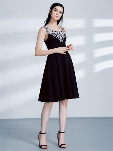 Black A Line Square Neck Sleeveless Applique Knee Length Prom Dress