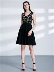 Black V Neck Sleeveless Embroidered Polyester Short Prom Dresses