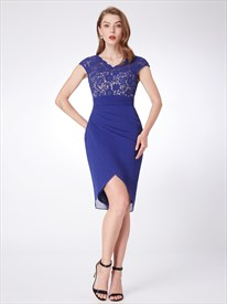 Royal Blue V Neck Cap Sleeve Ruched Waist Chiffon Short Prom Dress