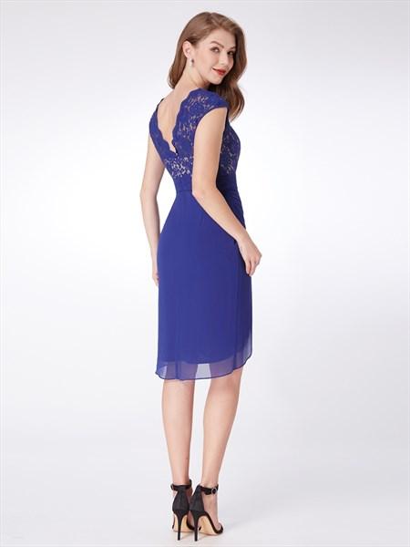 Royal Blue V Neck Cap Sleeve Ruched Waist Chiffon Short Prom Dress
