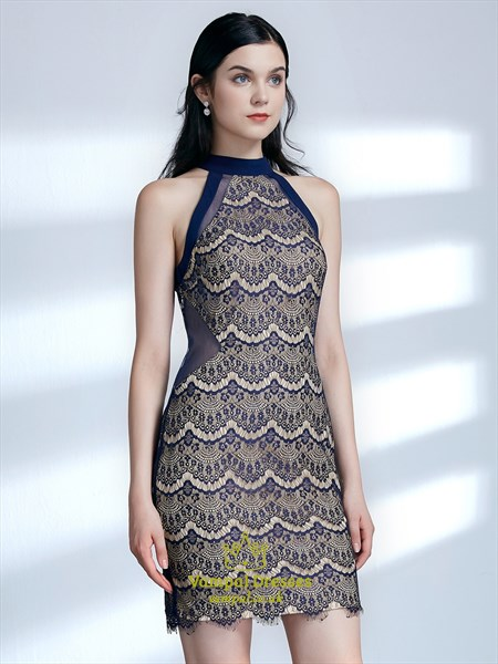 High Neck Sleeveless Sheath Lace Short Prom Dress With Sheer Sides
