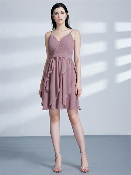A Line Spaghetti Strap Ruched Chiffon Short Prom Dress With Ruffle