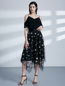 Black Spaghetti Strap Cap Sleeve Asymmetrical Hem Tulle Prom Dress