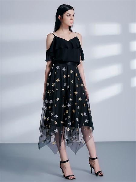 Black Spaghetti Strap Cap Sleeve Asymmetrical Hem Tulle Prom Dress