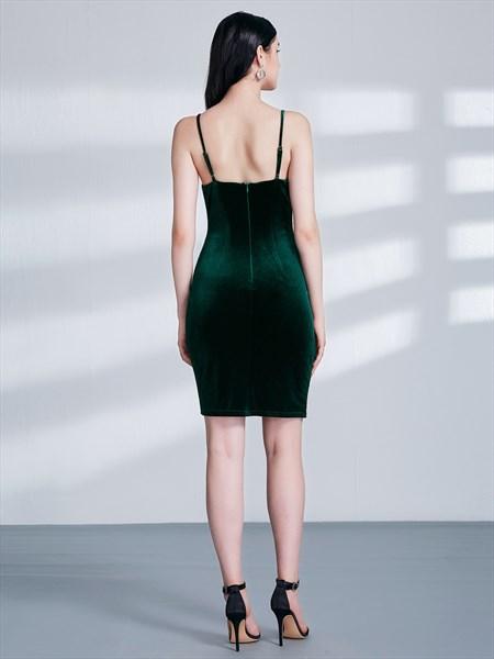 Emerald Green Spaghetti Strap Ruched Sheath Velvet Dress With Split