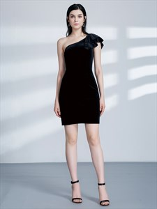 Simple Black One Shoulder Sleeveless Sheath Velvet Knee Length Dress