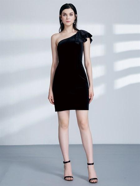 Simple Black One Shoulder Sleeveless Sheath Velvet Knee Length Dress