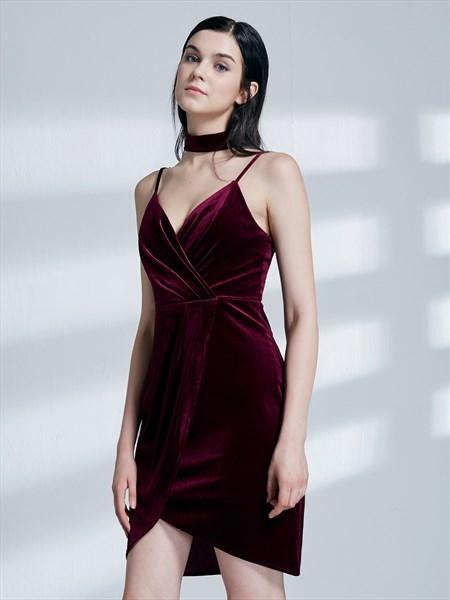 Burgundy Spaghetti Strap Ruched Asymmetrical Hem Short Prom Dresses
