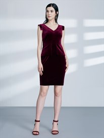 V Neck Sleeveless Ruched Sheath Knee Length Velvet Prom Dresses
