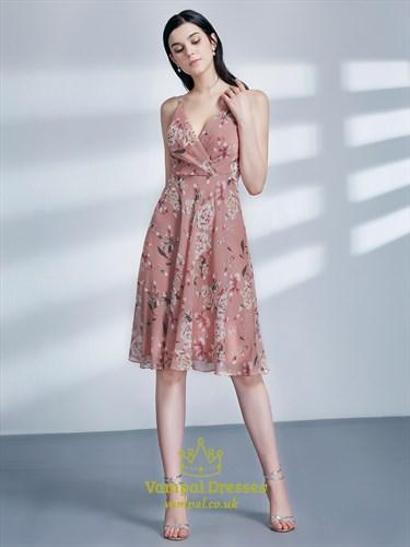 A Line Pink V Neck Sleeveless Ruched Chiffon Floral Print Dress