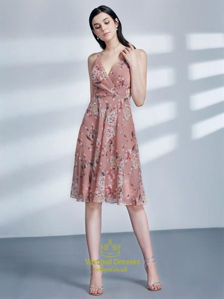 A Line Pink V Neck Sleeveless Ruched Chiffon Floral Print Dress