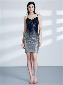 Elegant Sparkly Spaghetti Strap Sleeveless Sheath Short Sequin Dress
